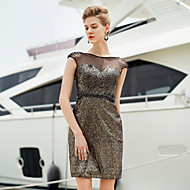 Cocktail Party Dress Sheath/Column Bateau Short/Mini Satin Dress