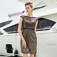 Cocktail Party Dress Sheath/Column Bateau Short/Mini Satin Dress