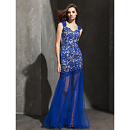 Homecoming Formal Evening Dress - Royal Blue Fit & Flare Sweetheart Floor-length Lace/Tulle