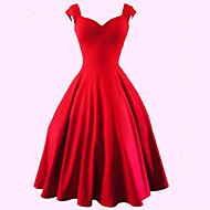 Women's Party/Cocktail Sexy / Vintage Plus Size / A Line Dress,Solid Sweetheart Knee-length Sleeveless Red / BlackCotton / Polyester /
