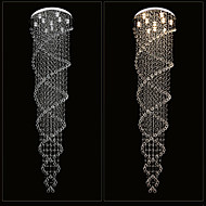 LED Ceiling Chandelier Light Pendant Lights Lamp Lighting Fixtures with K9 Crystal Double Spiral D70CM H250CM CE FCC UL