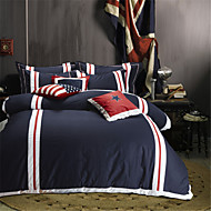 H&C 100% Cotton 900TC Duvet Cover Set 4-Piece White, Red And Blue Solid Color Joint  OT2-006