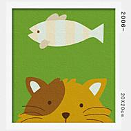peinture à l'huile numérique bricolage en bois massif avec la peinture de plaisir en famille de cadre tout seul chat 2006