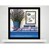 Wall Art Flowers Picture Frame Wood Frame with Canvas with Plastic Organic Glass Random color 1Piece/set