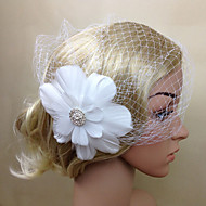 Women Feather/Net Bride Simple Flowers/Birdcage Veils With Wedding/Party Headpiece White