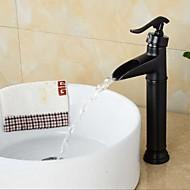 Bathroom Oil-rubbed Bronze Waterfall Single Handle Single Hole Basin Faucet
