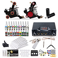 dragonhawk® komplett tattoo kit 2 maskin 20 fargeblekk strømforsyning