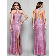 TS Couture Formal Evening / Prom / Military Ball Dress - Multi-color Plus Sizes / Petite Sheath/Column High Neck Floor-length Sequined
