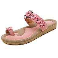 Sandals Spring Summer Fall Comfort Light Soles PU Office & Career Dress Casual Flat Heel Rhinestone Beading Flower Pink Khaki Walking