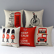 Set of 5 Euro Country London Patterned Cotton/Linen Decorative Pillow Covers