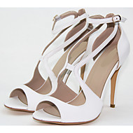 Women's Shoes Leatherette Cone Heel Toe Ring/Round Toe/Open Toe Sandals Wedding/Outdoor/Office & Career Dress White