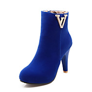 Women's Shoes Fleece Fall / Round Toe Boots Office & Career / Casual Cone Heel Sparkling Glitter Black / Blue / Red