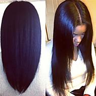 """פאת תחרה מול מלזי יקי שיער בתולה ישר פאת שיער אדם תחרה מול יקי איטלקים לנשים שחורות 8 """"-24"""""""