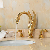 Separated Type Two Handles Ornate Swan Shape Bathroom Basin Faucet - Gold
