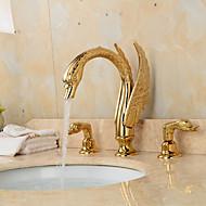 oddělený typ dva úchyty vyšperkovaný tvaru labutí koupelna umyvadlo kohoutek - zlato