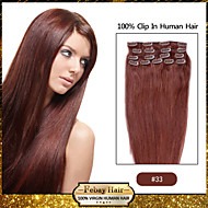 febay marca 20-22inch 8pcs 100g / set castanho escuro (# 33) grampo de cabelo indiano no cabelo humano