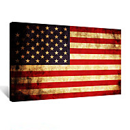 VISUAL STAR®Large Size Vintage America Flag Canvas Wall Art,Framed and Stretched, USA Flag Canvas Poster Print