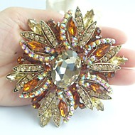 Gorgeous 3.94 Inch Gold-tone Topaz Rhinestone Crystal Flower Brooch Art Deco