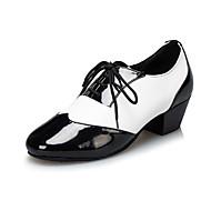 Customizable Men's Dance Shoes Latin/Jazz Leather Low Heel Black/White