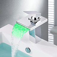 New Modern LED RGB Waterfall Chrome Single Lever No Battery Mixer Faucet Taps