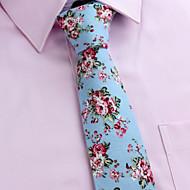 Gravatas (Preta/Rosa/Azul Claro/Ivory , Algodão) Estampado