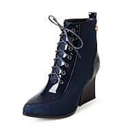 Women's Shoes Patent Leather Wedge Heel Wedges/Pointed Toe/Closed Toe Boots Office & Career/Dress Black/Blue