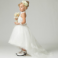 A-line Floor-length/Asymmetrical Flower Girl Dress - Lace/Tulle/Polyester Sleeveless
