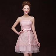 Cocktail Party Dress - Pearl Pink A-line Strapless Knee-length Satin