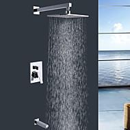 Shengbaier Wall Mount Contemporary Chrome Rain Shower Faucet