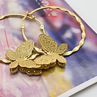 Women's Fashion Exquisite Gold Plated Big Earrings with beautiful butterflies