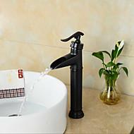 Contemporaneo Installazione centrale Cascata with  Valvola in ceramica Una manopola Un foro for  Bronzo lucidato , Lavandino rubinetto