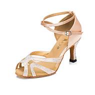 Customizable Women's / Kids' Dance Shoes Satin Satin Latin Heels Flared Heel Practice / Beginner / Professional / Indoor / OutdoorBlack /