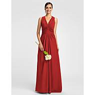 Lanting Dress - Ruby / Grape / Royal Blue / Champagne Plus Sizes / Petite A-line V-neck Floor-length Chiffon