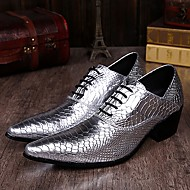 Men's Shoes Limited Edition Pure Handmade Wedding/Party & Evening Leather Oxfords Gold/Silver