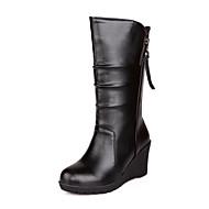 女性-アウトドア オフィス カジュアル-レザーレット-ウェッジヒール-ファッションブーツ-ブーツ-ブラック ブラウン ホワイト