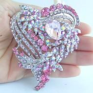 Wedding 3.15 Inch Silver-tone Pink Rhinestone Crystal Love Heart Brooch Pendant