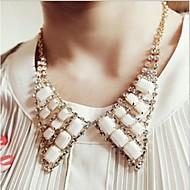 Korea Style Triangle Shape  Metal Gemstones Collar Necklace(White)(1pc)