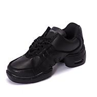 Men's Dance Shoes Dance Sneakers Leather Low Heel Black