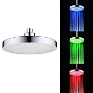 8 Inch A Grade ABS Chrome Finish Round RGB LED Rain Shower Head - Silver