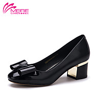 MeiRie'S Women's Shoes Faux Leather/Leatherette Chunky Heel Round Toe/Closed Toe Flats Casual Black/Blue/Beige