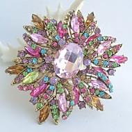 Gorgeous 3.94 Inch Gold-tone Multicolor Rhinestone Crystal Flower Brooch Art Deco