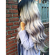 Ombre Sliver Grey Body Wave Synthetic Lace Front Wig Two Tone Natural Black/Gray Heat Resistant Hair Arica Wig For Women