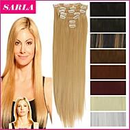 """22 """"/ 55 centimetr 120 - 130 gramy 7ks / sada tepelně odolné syntetické příčesky Klip na dlouhé rovné prodlužování vlasů"""