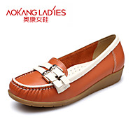 Aokang Women's Shoes Leather Flat Heel Comfort/Round Toe/Closed Toe Flats Outdoor/Office & Career/Casual