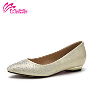 MeiRie'S Women's Shoes Faux Leather/Leatherette Flat Heel Comfort/Pointed Toe/Closed Toe Flats Casual Black/Silver/Gold