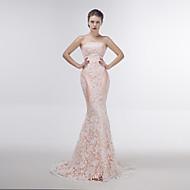 Dress - Blushing Pink Trumpet/Mermaid Strapless Sweep/Brush Train Lace