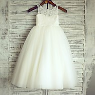 Princess Floor-length Flower Girl Dress - Lace / Satin / Tulle Sleeveless Scoop with