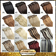16-22 Inch 7Pcs 70g Clip in Human Hair Extension Straight Many Colours Available