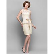 Lanting Sheath/Column Mother of the Bride Dress - Champagne Short/Mini Sleeveless Lace