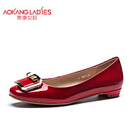 Aokang Women's Shoes Patent Leather Flat Heel Comfort/Round Toe/Closed Toe Flats Outdoor/Office & Career/Casual